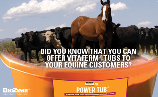 Did You Know That You Can Offer Vitaferm® Tubs To Your Equine Customers?