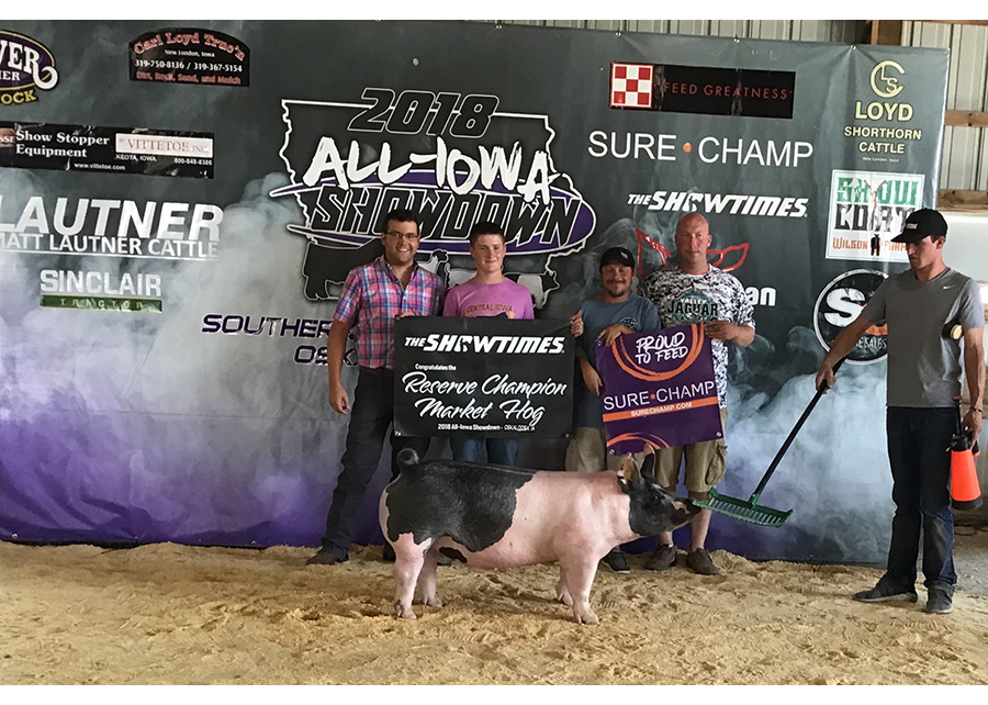 18 All Iowa Showdown, Reserve Champion Market Hog, Shown by Pierce Woodruff
