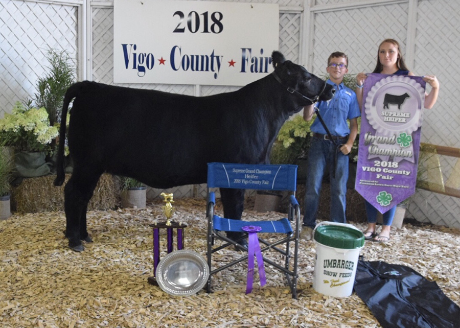 18 Vigo County Fair, Supreme Heifer, Shown by Carson Bonar Champ
