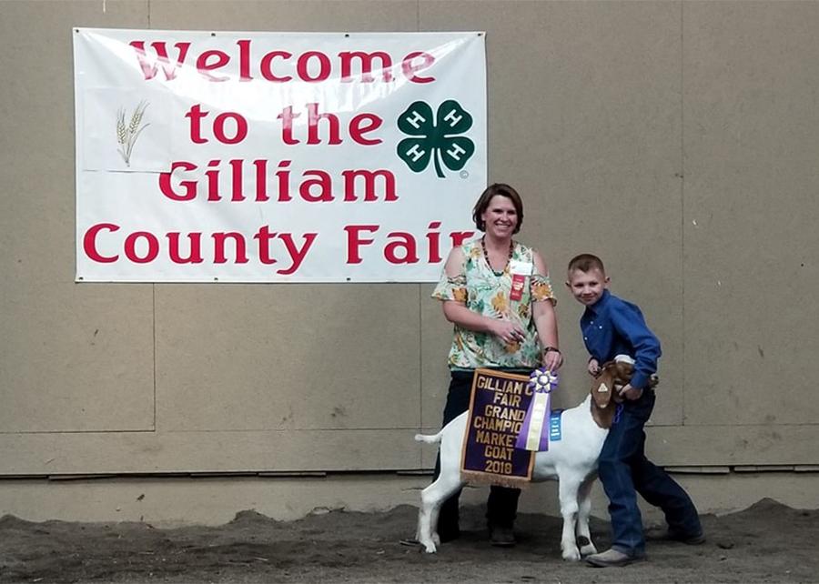 18 Gilliam County Fair, Grand Champion Market Goat, Shown by Hunter Wilson Champ