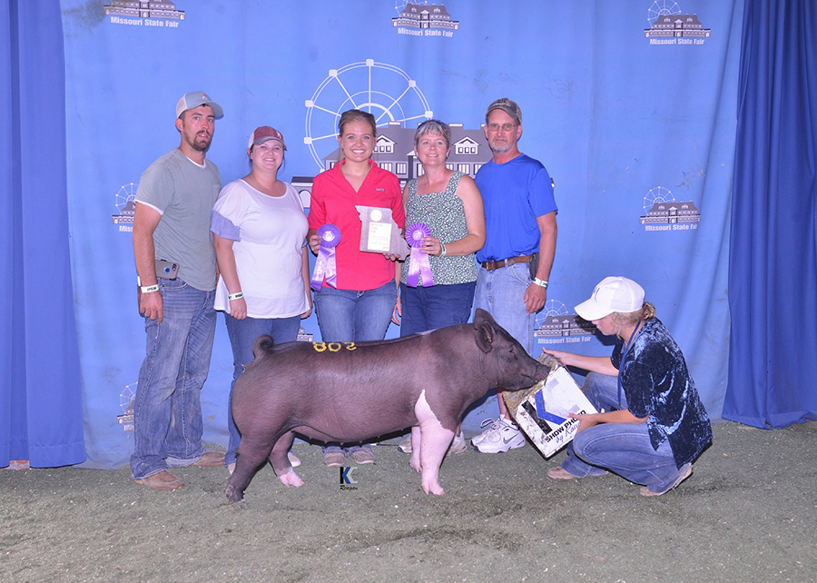 18 Missouri State Fair, Grand Champoin FFA Crossbred Gilt, Shown by Bailey Boland Champ