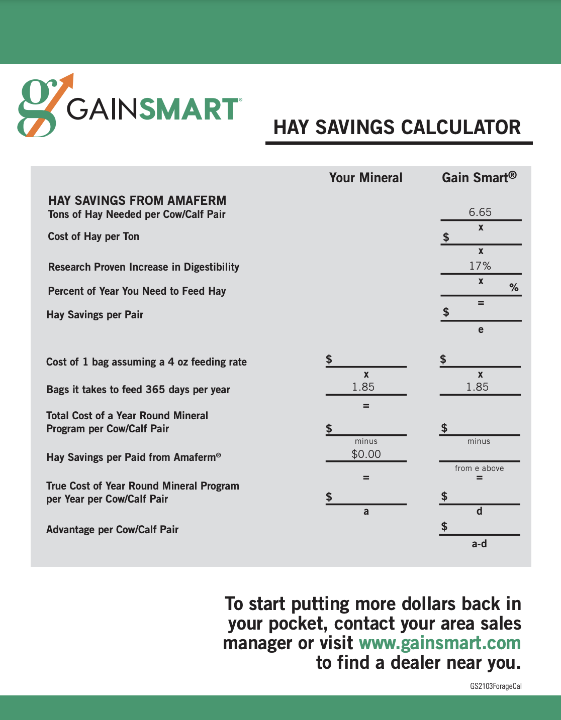 Hay Savings Calculator