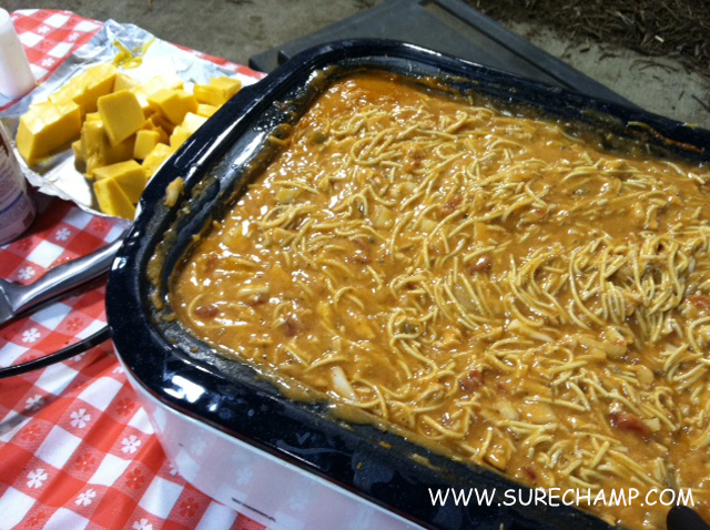 chicken spaghetti in roaster