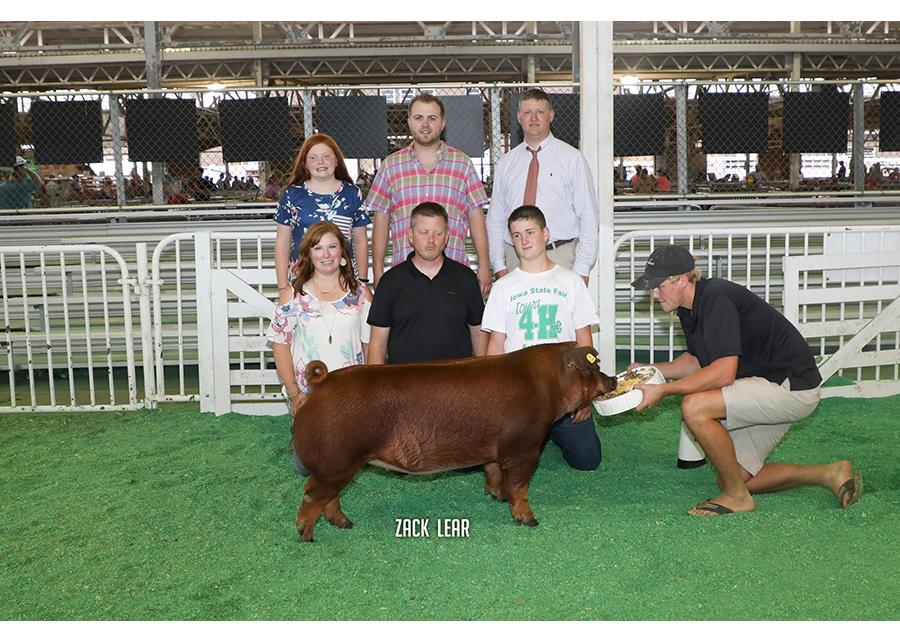18 Iowa State Fair, Champion Duroc, Shown by Jillian Woodruff Champ