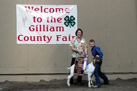 18 Gilliam County Fair, Grand Champion Market Goat, Shown by Hunter Wilson Test