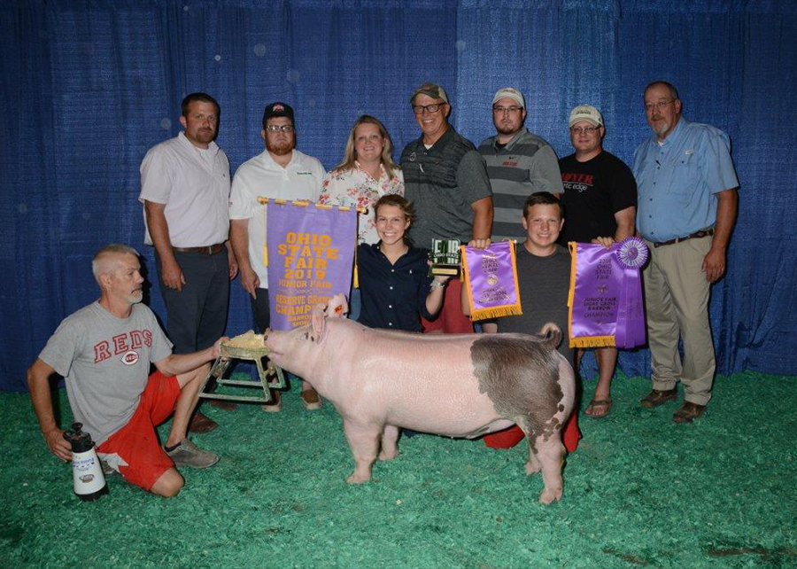 2019 Ohio State Fair Junior Show, Reserve Grand Champion Barrow, Shown by Riley Wendt