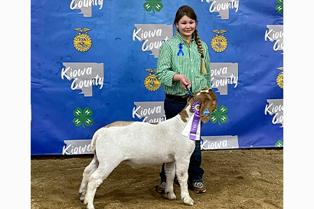 Champion Market Goat, Kiowa County Show, shown by Morgan Dempsey