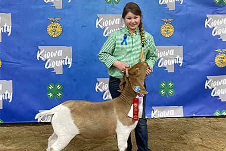 Reserve Champion Market Goat, Kiowa County Show, shown by Morgan Dempsey